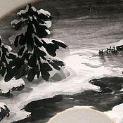 Фен-шуй и эзотерика ручной работы. Ярмарка Мастеров - ручная работа Картина на веере Зимняя ночь. Handmade.