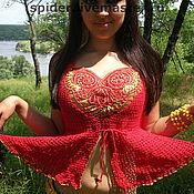 Одежда handmade. Livemaster - original item Top red KHOKHLOMA. Handmade.
