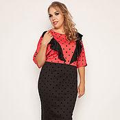 Интересное платье в горошек 35156-1