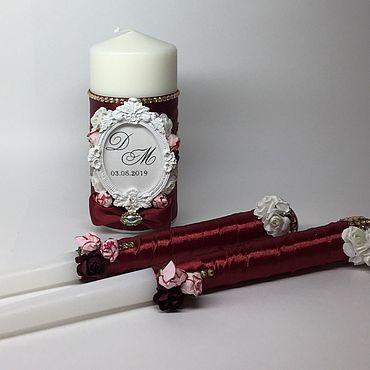 Свадебный салон ручной работы. Ярмарка Мастеров - ручная работа Свадебные свечи «Роза Марсала». Handmade.