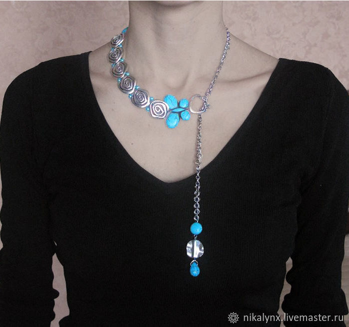 Asymmetrical necklace-chain with turquoise Voyage, Chain, St. Petersburg,  Фото №1