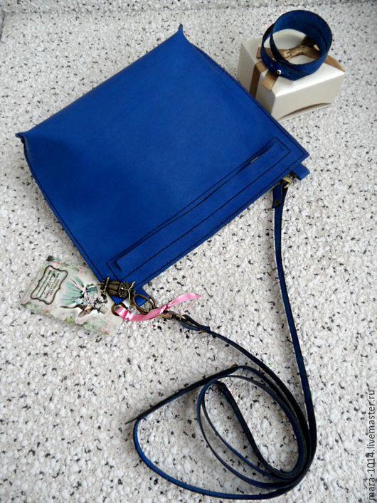 Женские сумки ручной работы. Ярмарка Мастеров - ручная работа. Купить Сумочка - карман, на длином ремешке из кожи, синий. Handmade.