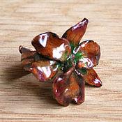 Украшения ручной работы. Ярмарка Мастеров - ручная работа Орхидея - бронзовое кольцо с горячей эмалью. Handmade.