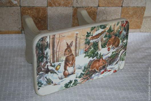 """Детская ручной работы. Ярмарка Мастеров - ручная работа. Купить Детская скамейка """"Зима в лесу"""". Handmade. Скамейка, подарок"""
