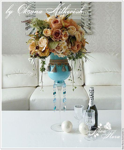 """Интерьерные композиции ручной работы. Ярмарка Мастеров - ручная работа. Купить """"Галантный гламур"""" Интерьерный букет в оригинальной вазе. Handmade."""