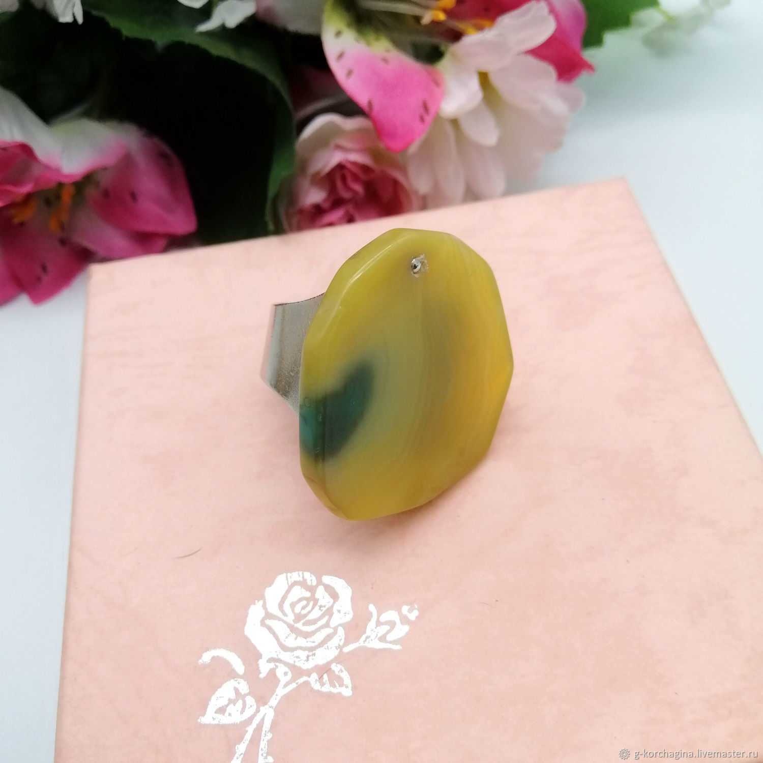 with a slice of agate ' Sunny glare', Phalanx ring, Voronezh,  Фото №1