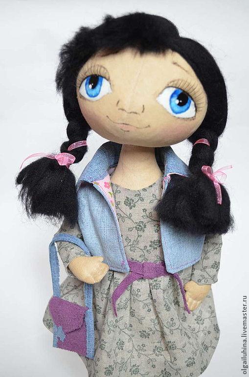 Куклы тыквоголовки ручной работы. Ярмарка Мастеров - ручная работа. Купить Интерьерная кукла Маргоша. Handmade. Голубой, кукла в подарок