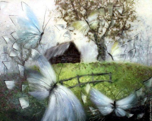 Пейзаж ручной работы. Ярмарка Мастеров - ручная работа. Купить Бабочки. Handmade. Серебряный, картины из шерсти, шерсть 100%