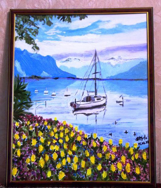 """Пейзаж ручной работы. Ярмарка Мастеров - ручная работа. Купить """"Женева"""". Handmade. Щвейцария, озеро, яхта, пейзаж, горы, масло"""