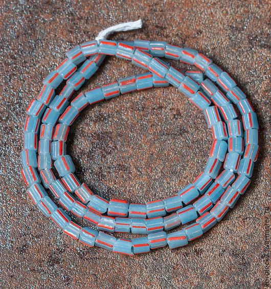Для украшений ручной работы. Ярмарка Мастеров - ручная работа. Купить Стеклянные матовые палево-голубые с рыжими штрихами. Handmade.