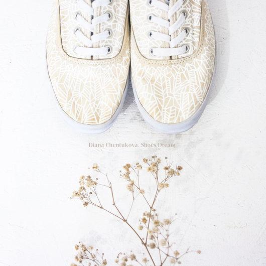 Кеды `Beige` с росписью. Диана Чентукова. Diana Chentukova. #ShoesDream. Shoes Dream