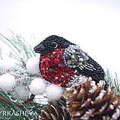 Украшения handmade. Livemaster - original item Bird bullfinch brooch embroidered with beads. Handmade.