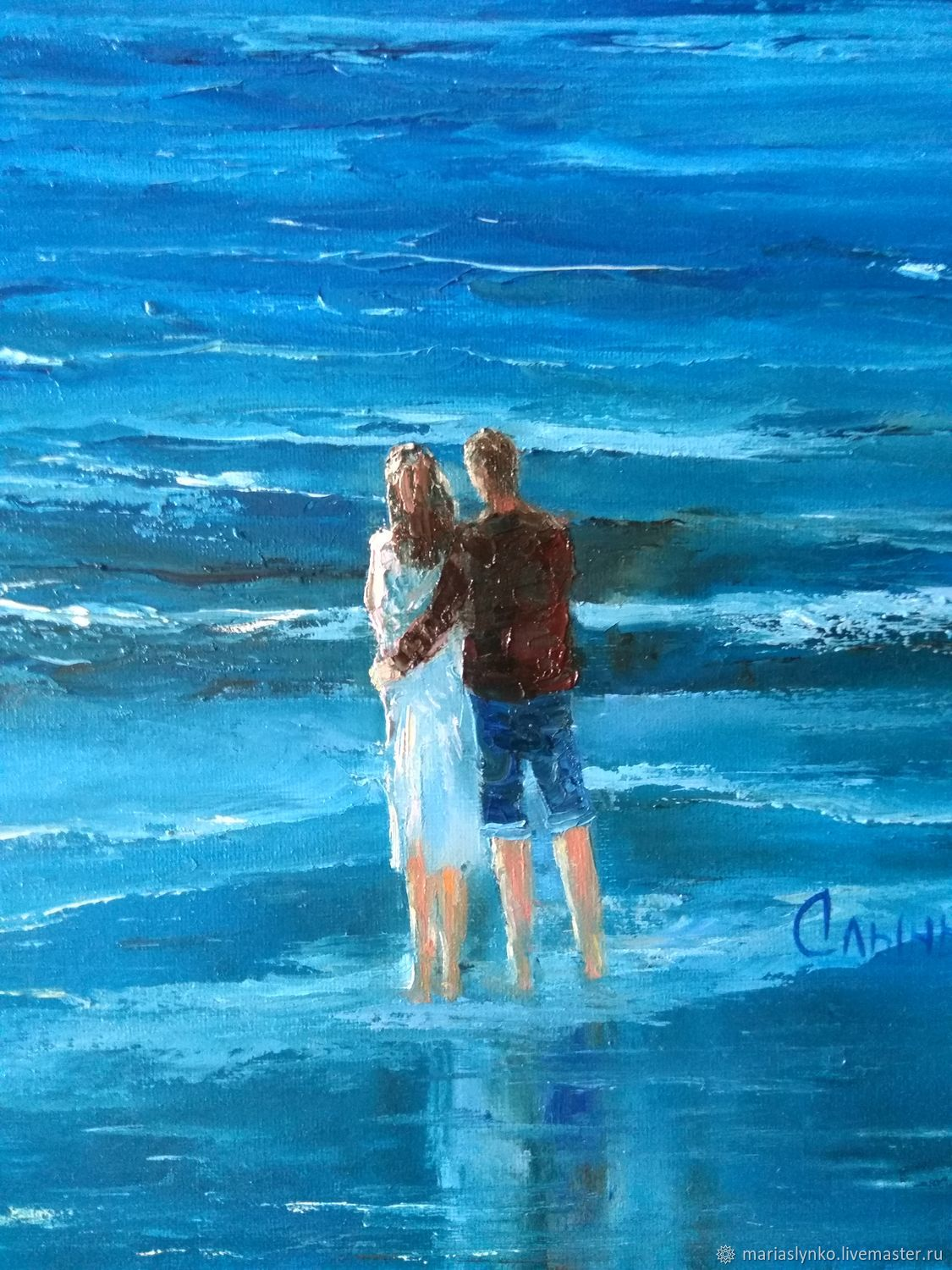 Oil painting on canvas. Sea. Two. Warm the moon for two one, Pictures, Alicante,  Фото №1