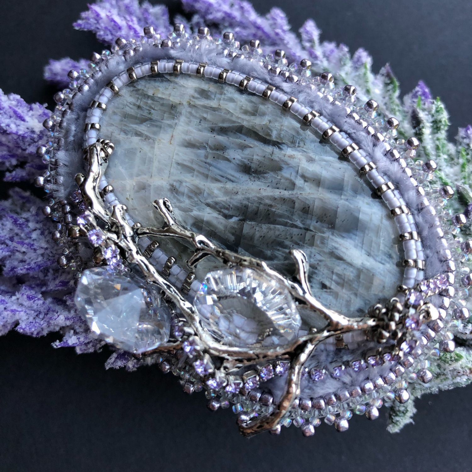 Beaded brooch with moonstone and Austrian crystals, Brooches, Moscow,  Фото №1