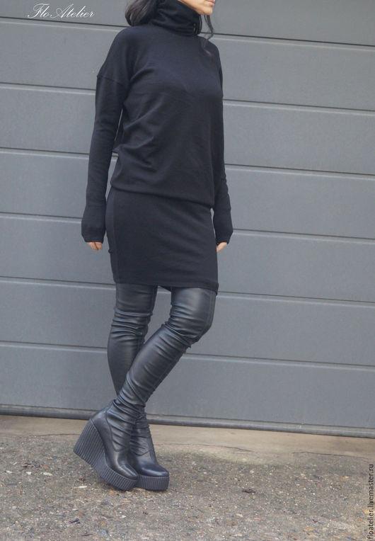 Платья ручной работы. Ярмарка Мастеров - ручная работа. Купить Платье-свитер/Легкое платье/F1543. Handmade. Темно-серый, свитер теплый
