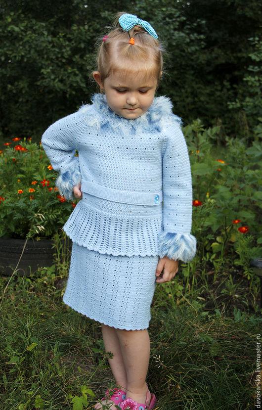 Платья ручной работы. Ярмарка Мастеров - ручная работа. Купить Платье тёплое с длинным рукавом для девочки 5-7 лет.. Handmade.