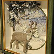 """Картины и панно ручной работы. Ярмарка Мастеров - ручная работа Объёмное панно  """"Рождество в горах"""". Handmade."""