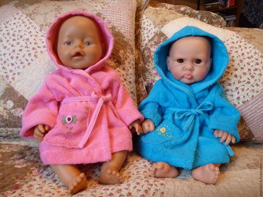 Одежда для кукол ручной работы. Ярмарка Мастеров - ручная работа. Купить Махровые кукольные халатики. Handmade. Голубой, банный халат