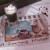 """Для дома и интерьера ручной работы. Ярмарка Мастеров - ручная работа Поднос """"Кофе-брейк"""". Handmade."""