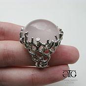 Украшения handmade. Livemaster - original item Ring with pink quartz and diamonds. 925 sterling silver.. Handmade.