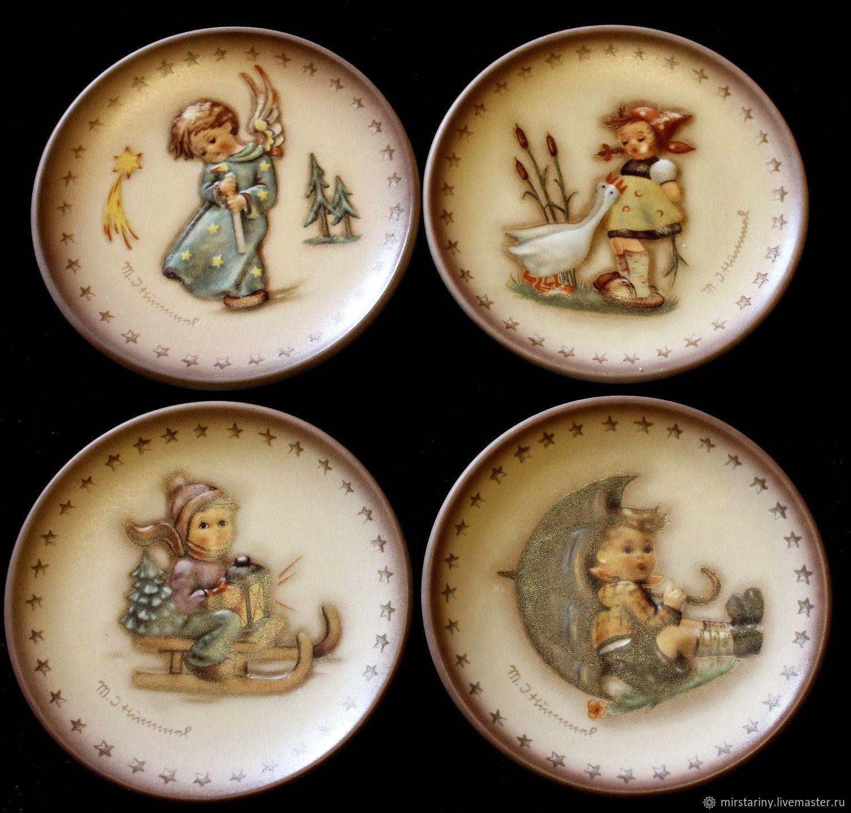 Rare Christmas mini plates Hummel, Goebel, Germany, Vintage interior, Moscow,  Фото №1