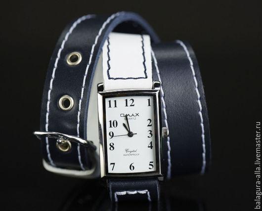 """Часы ручной работы. Ярмарка Мастеров - ручная работа. Купить Часы """"WHITE & BLUE"""". Handmade. Синий, часы из кожи"""