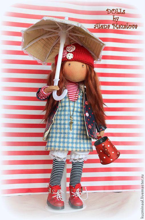"""Коллекционные куклы ручной работы. Ярмарка Мастеров - ручная работа. Купить Текстильная кукла """"On this rainy day...."""". Handmade."""