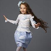 """Работы для детей, ручной работы. Ярмарка Мастеров - ручная работа Детский войлочный комплект """"Витая в облаках"""" (свитер + юбка). Handmade."""