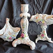 Винтаж handmade. Livemaster - original item Germany Porcelain set Vase Candle holder Basket Porcelain. Handmade.