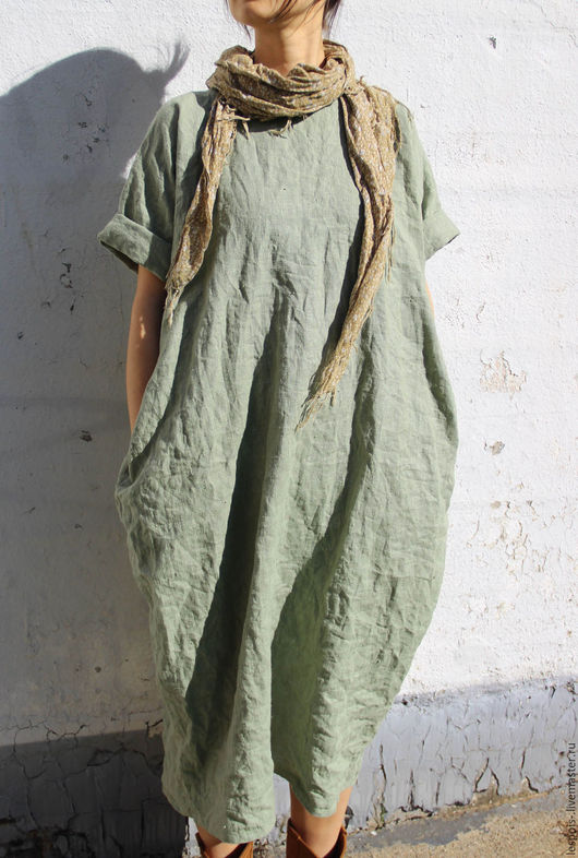 Платья ручной работы. Ярмарка Мастеров - ручная работа. Купить Льняное платье. Handmade. Оливковый, натуральный лен, дизайнерская одежда