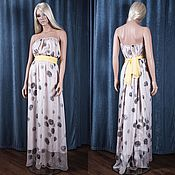 Одежда ручной работы. Ярмарка Мастеров - ручная работа Платье длинное в пол из шифонового шёлка. Handmade.