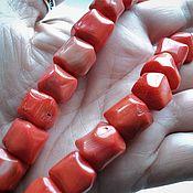 Материалы для творчества manualidades. Livemaster - hecho a mano Coral de los cubos de 10-13mm. Handmade.