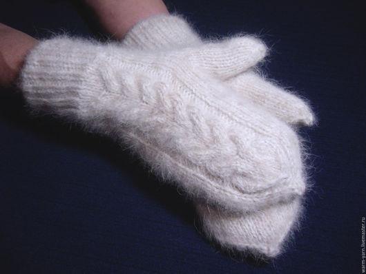 Варежки, митенки, перчатки ручной работы. Ярмарка Мастеров - ручная работа. Купить Варежки женские двойные из собачьей шерсти. Handmade.