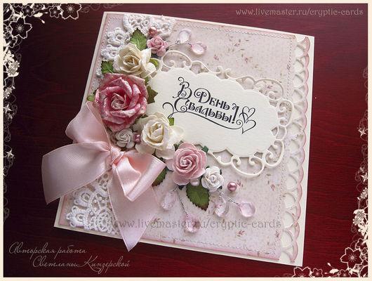 """Свадебные открытки ручной работы. Ярмарка Мастеров - ручная работа. Купить Открытка """"Нежные розы"""" разные цвета. Handmade."""
