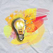 Одежда handmade. Livemaster - original item T-shirt  hand painted light bulb. Handmade.