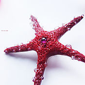 """Украшения handmade. Livemaster - original item """"Звезда Ундины"""", брошь с родолитом и капельками. Handmade."""