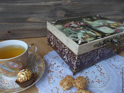 """Кухня ручной работы. Ярмарка Мастеров - ручная работа. Купить Чайная шкатулка """"Очарование"""". Handmade. Коричневый, шкатулка деревянная"""