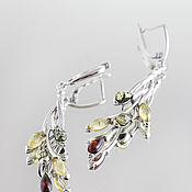 Серьги классические ручной работы. Ярмарка Мастеров - ручная работа Удлиненные серьги из серебра и натурального янтаря. Handmade.
