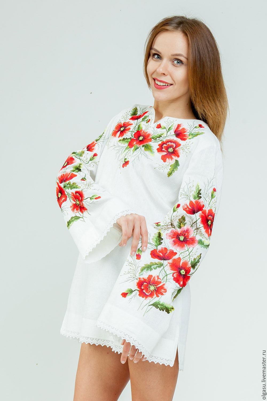 Вышивка на красной блузке