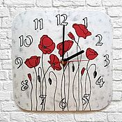 Часы классические ручной работы. Ярмарка Мастеров - ручная работа Часы настенные Маки, часы в подарок на 8 марта, день рождение. Handmade.