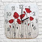 Для дома и интерьера handmade. Livemaster - original item Wall clock Poppies, clock as a gift for March 8, birthday. Handmade.