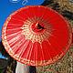"""Зонты ручной работы. Ярмарка Мастеров - ручная работа. Купить Расписной традиционный тайский зонт """"Thai Red"""". Handmade. Бордовый"""
