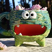 Посуда handmade. Livemaster - original item Sea-green monster - large mug with a place for cookie. Handmade.