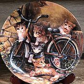 Предметы интерьера винтажные ручной работы. Ярмарка Мастеров - ручная работа Фарфоровая настенная тарелка котята Мотив 12 Seltmann Германия. Handmade.
