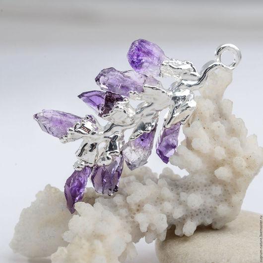 """Кулоны, подвески ручной работы. Ярмарка Мастеров - ручная работа. Купить Кулон """"Аметистовая ветвь"""" (натуральные камни, кристаллы) 55/12. Handmade."""