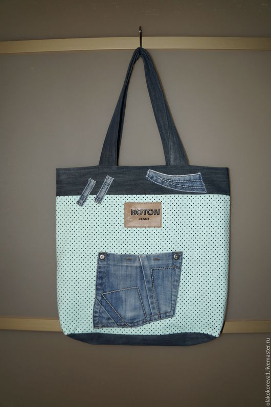 Женские сумки ручной работы. Ярмарка Мастеров - ручная работа. Купить Сумка джинса темно-синяя и мелкие горошки. Handmade.