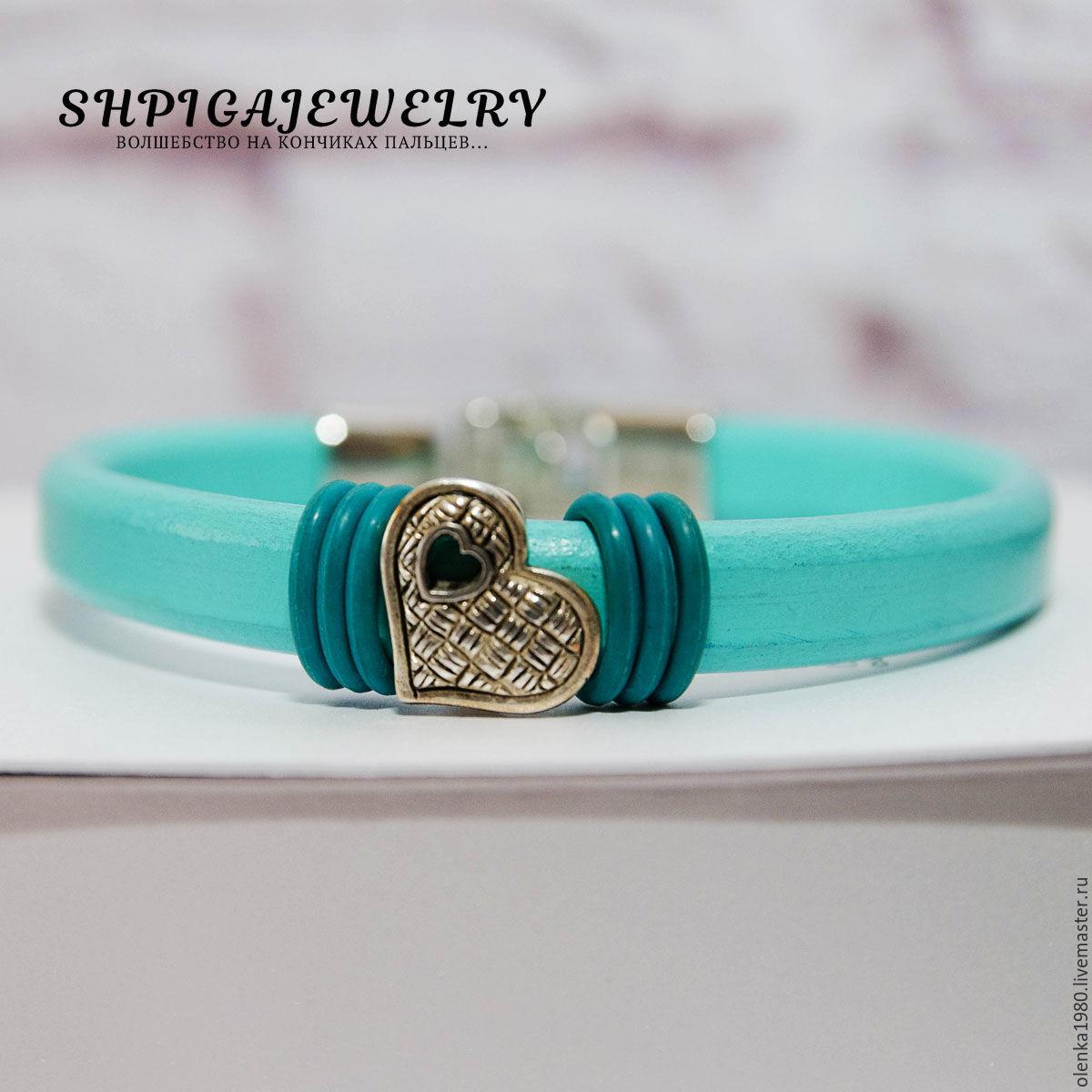 Leather bracelet `Peppermint`