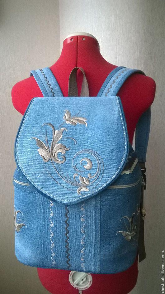 """Рюкзаки ручной работы. Ярмарка Мастеров - ручная работа. Купить Джинсовый рюкзак """" Очарование"""". Handmade. Голубой, рюкзак"""