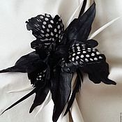Украшения handmade. Livemaster - original item Brooch made of leather Black orchid. Handmade.