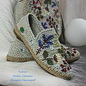 Обувь ручной работы handmade. Livemaster - original item shoes: Linen embroidered eco shoes. Handmade.